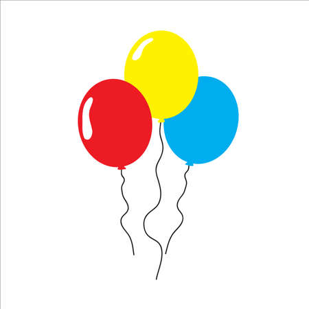 Bunch of balloons flat style, isolated vector illustration.
