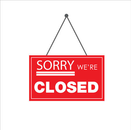 Closed Store Sign Vector illustration on white background.