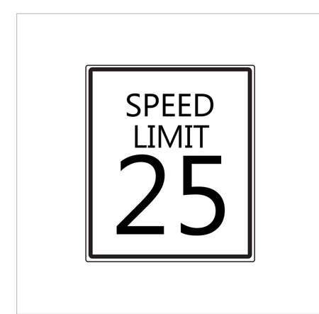 Speed limit 25 traffic light on white background. Illustration