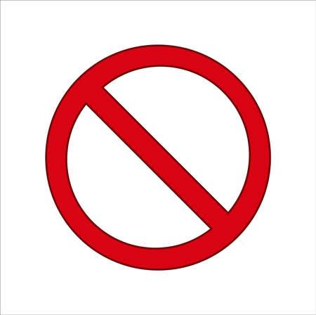 Brak znaku. Cenzor, czerwony wektor zakazu. Okrągły Brak symbolu