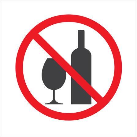 Aucun signe d'alcool. Panneau d'avertissement isolé Vecteurs