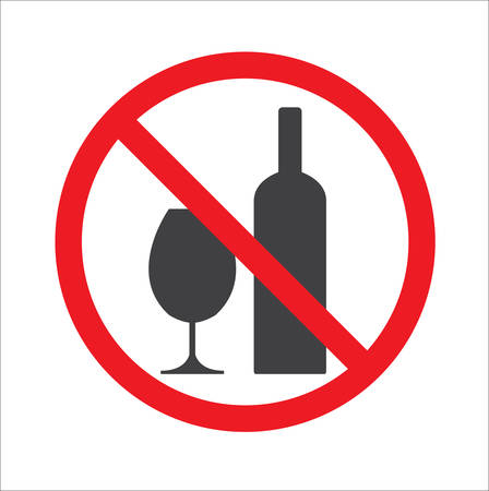 No alcohol sign. Warning sign isolated Vetores