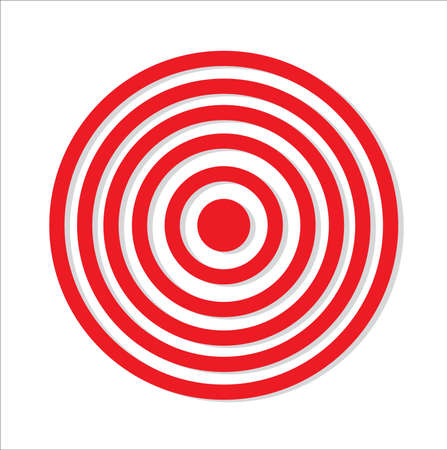 red target icon with drop shadow in circular design Vector Illustration