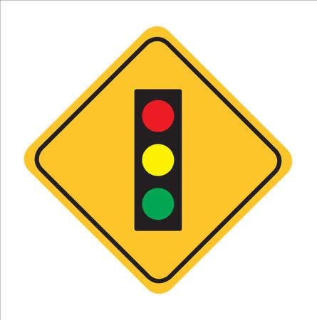 Señal de tráfico, semáforo por delante signo de fondo, Ilustración de vactor Ilustración de vector