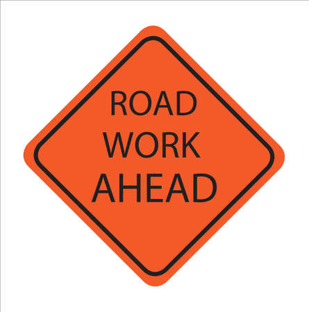 Road Work Ahead, American road sign,vactor Illustration