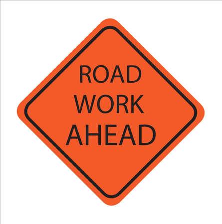 Trabajo en la carretera por delante, señal de tráfico estadounidense, Ilustración de vactor