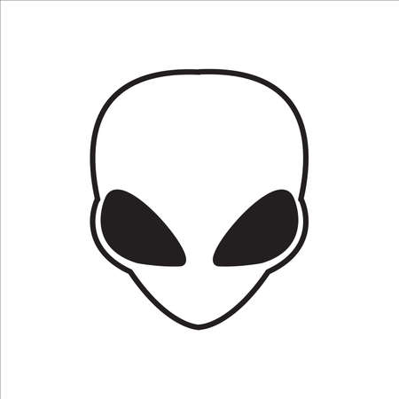 Alien face or head vector icon on white background