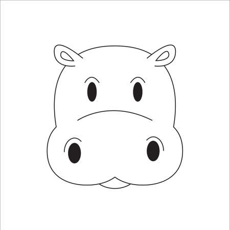 Cute and adorable hippo character vector outline
