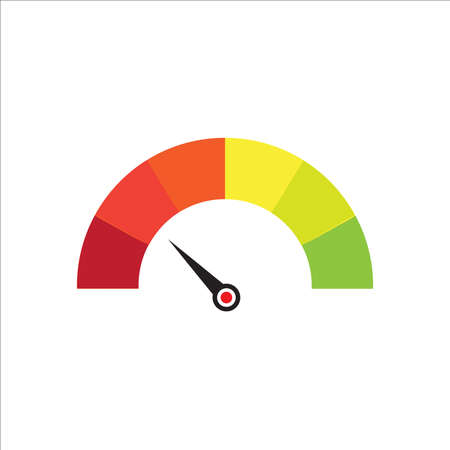 Credit score indicators with color levels from poor to good on white background vector