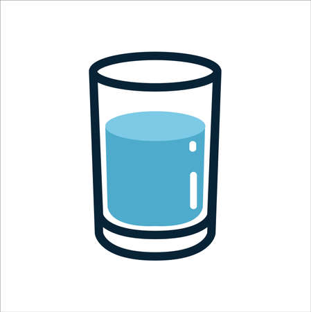 Glass of water line color icon vector