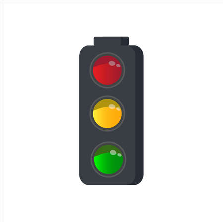 Traffic signal with red, yellow and green lights. Isolated vector