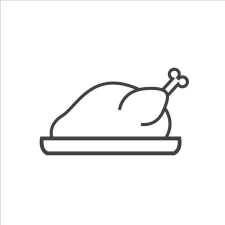 Hot chicken turkey line icon thanksgiving day vector