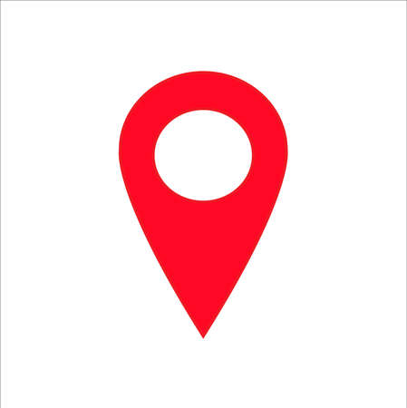 Red gps pin icon vector