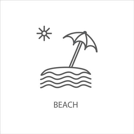 Beach outline icon on white background vector illustration