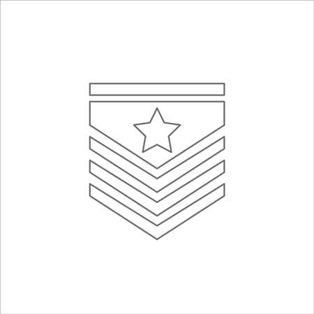 Military epaulettes outline, thin line icon