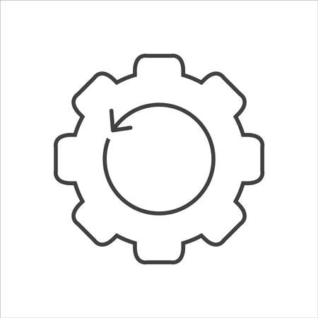 Recovery gear line icon. Backup data sign vector Çizim
