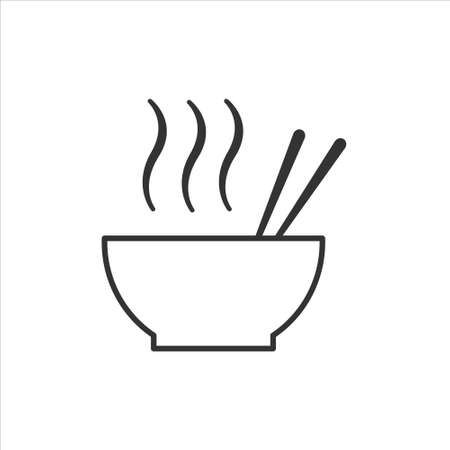 Hot ramen or pho noodle soup bowl with chopsticks and smoke line art vector icon