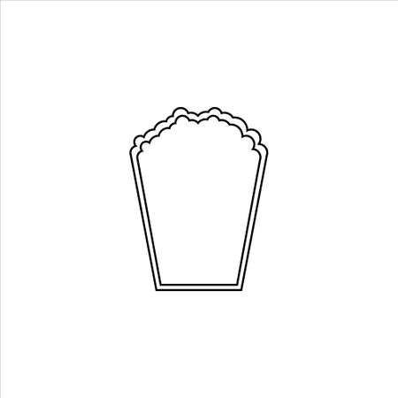 Flat line monochrome popcorn symbol for web sites and apps. Minimal simple black and white popcorn symbol vector 일러스트