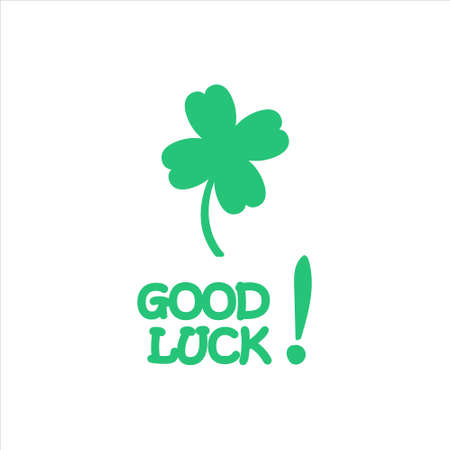 Good luck. Hand drawn shamrock and calligraphy. Vector illustration