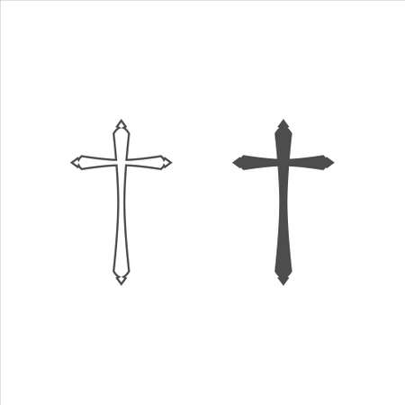 Black and white religion cross icon vector on white background