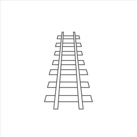 Outline railroad icon, railway vector illustration on white background 免版税图像 - 139997200