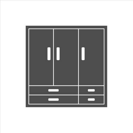 Wardrobe icon, wardrobe vector on white background