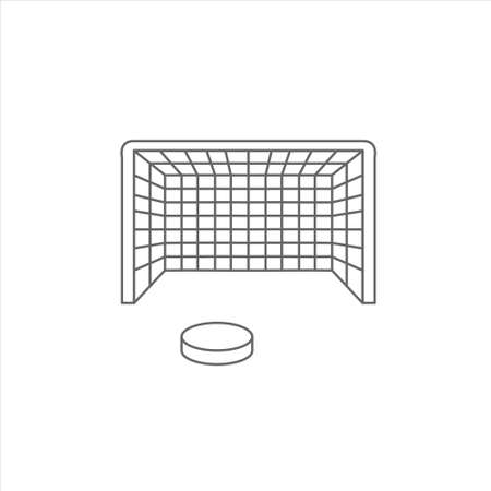 Hockey goal and puck icon on white background