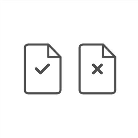 Document icon. Paper icon. Reject file. Check mark. Cross signs vector 免版税图像 - 141194631