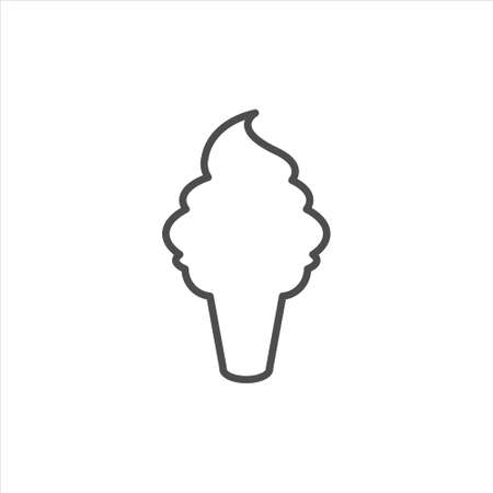 Ice cream outline vector on white background