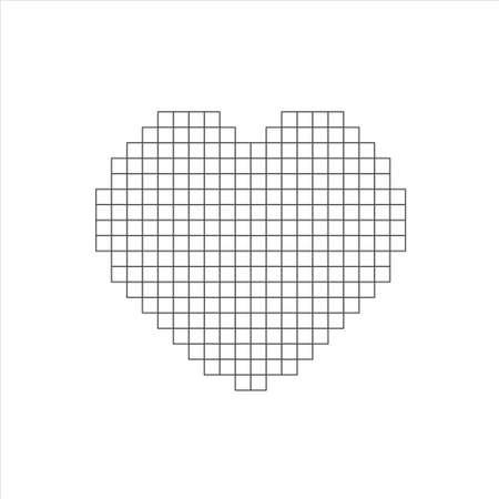 Vector pixel art heart on white background 免版税图像 - 141610875