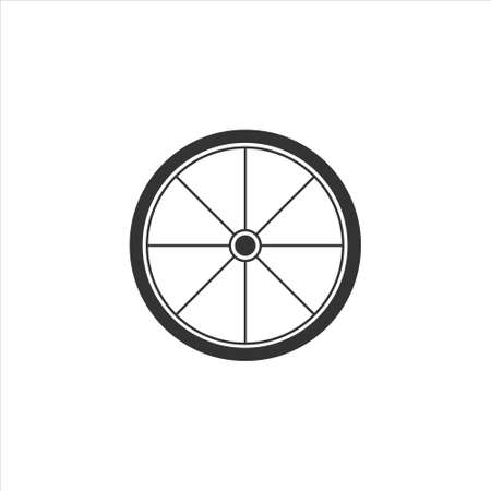 Bicycle wheel icon vector sign isolated on white background Ilustração