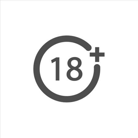 Under 18 years Sign Mark icon vector sign isolated on white background