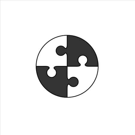 Circle puzzle icon vector sign isolated on white background. Puzzle symbol 矢量图像