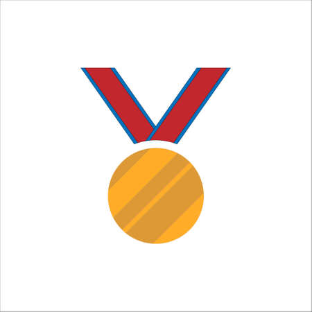 Medal vector. gold on white background
