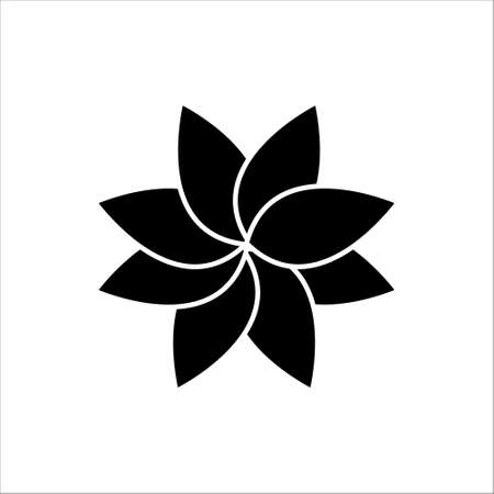 Black flower icon vector, in trendy flat style isolated on white background