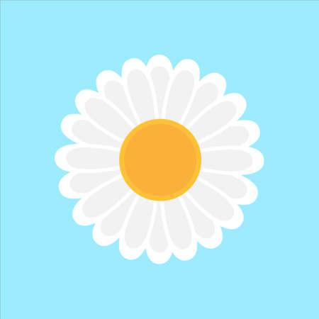 Daisy flower icon illustration on blue 免版税图像 - 157571079