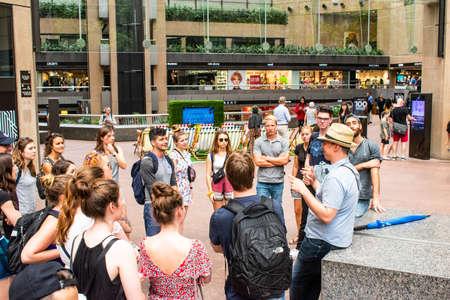 MELBOURNE, AUSTRALIA - April 4, 2020: On foot walking group tour of downtown Melbourne CBD, australia