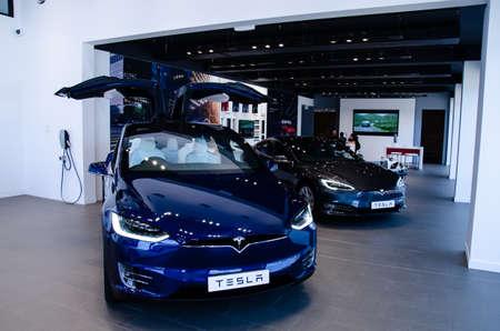 AUCKLAND, NEW ZEALAND - April 4, 2020: Blue Tesla Model X in auckland, new zealand showroom