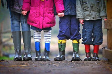 muddy: Muddy childrens boots Stock Photo