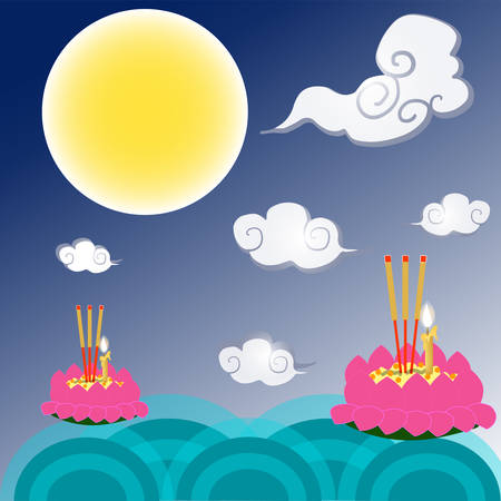 Loi Krathong tradition is Thai culture. Design images of Krathong in the river, clouds, moon, stars, fireworks on a blue background