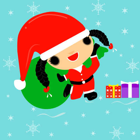 Merry Christmas vector illustration - a braid girl dressed up as a Santa Claus wearing a hat. Carrying a gift bag on the eve of Christmas Annual December of every year 일러스트