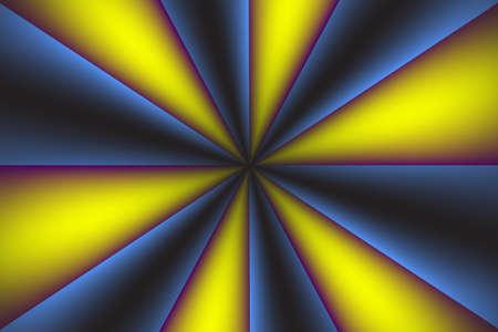 Design of geometric lines, radius, starburst, gradients, black-blue, yellow-purple Cartoon circle background Vectores