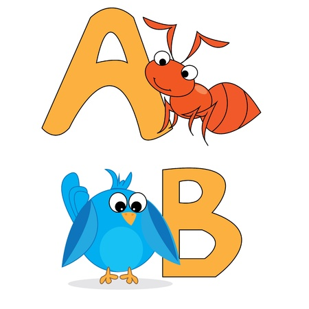 alphabet A and B with animal Vector