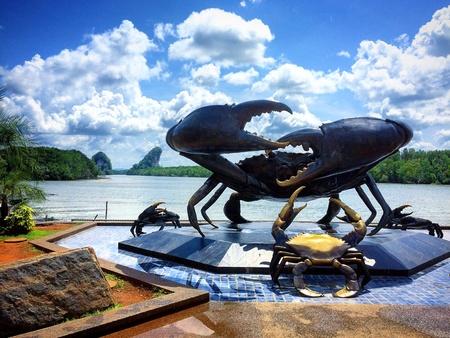 Black crab landmark of Krabi town.