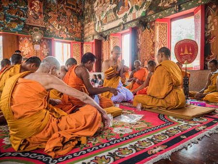 ordain: March 9, 2016, Nakhon Pathom, Thailand. The ordination of a Buddhist monk. Editorial