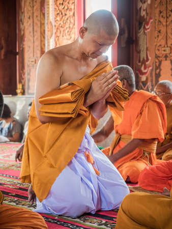 ordination: March 9, 2016, Nakhon Pathom, Thailand. The ordination of a Buddhist monk. Editorial