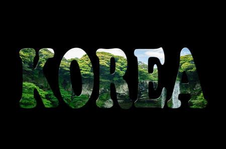 Korea wording of waterfall in Jeju Island. photo
