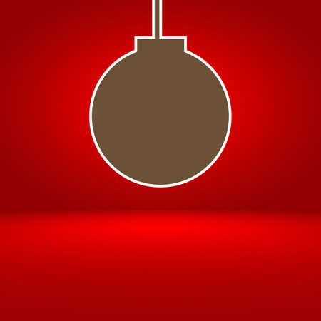 abstract red gradient background with Christmas balls photo