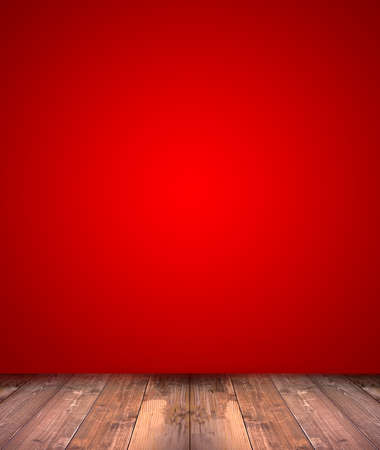 red wall: abstract red background with wood floor Stock Photo