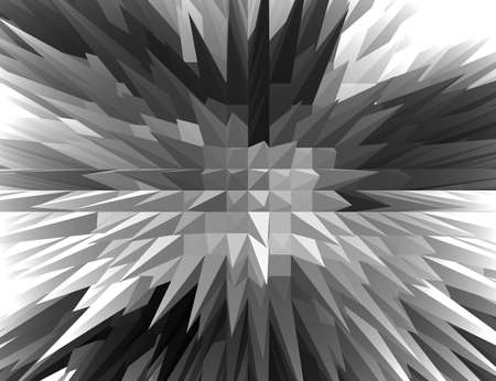 spiky: 3D Black and white Spiky pyramid with Bird eyes view. Stock Photo
